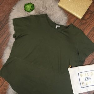 (ASOS) Olive Green Short Sleeve Ribbed Panel Tee